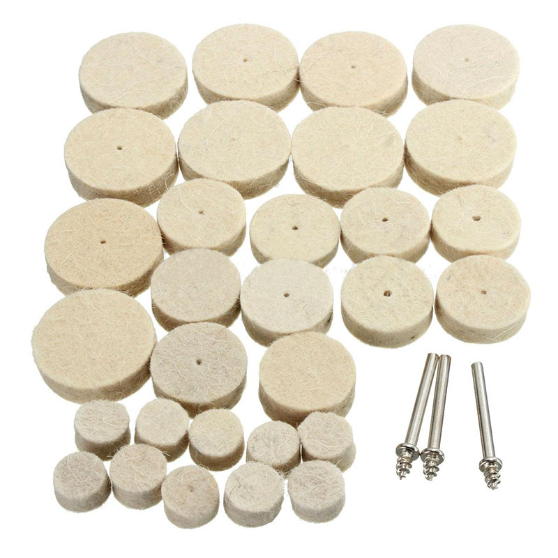 33Pcs Polishing Wheel Buffing Wheel Wool Felt Polishing Buffing Wheel Mixed Set Accessory For Rotary Tool