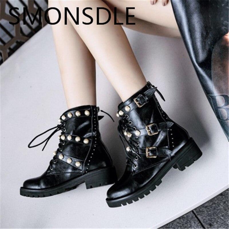 72f5a654d60f91 Chaussures Femmes Rome Smonsdle Automne Hiver Véritable Bout Nouveau Bottines  Perles Cuir Lacent En Gladiateur Pic ...
