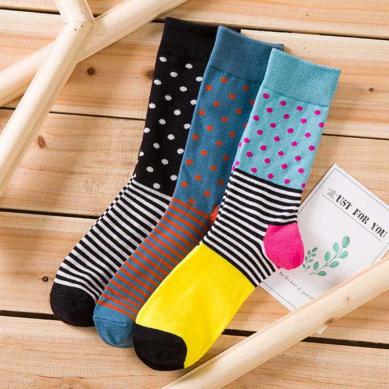 New Products High Quality Combed Cotton Men's Small Dot Stripes Happy Socks Brand Designer Casual Novelty Dress Business dress