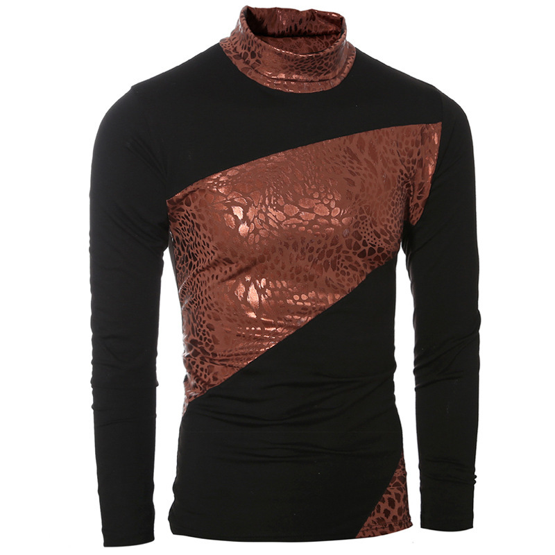 Men's Stitching color high collar long sleeve tshirts fashion mens clothing casual male t shirt tops 2colour