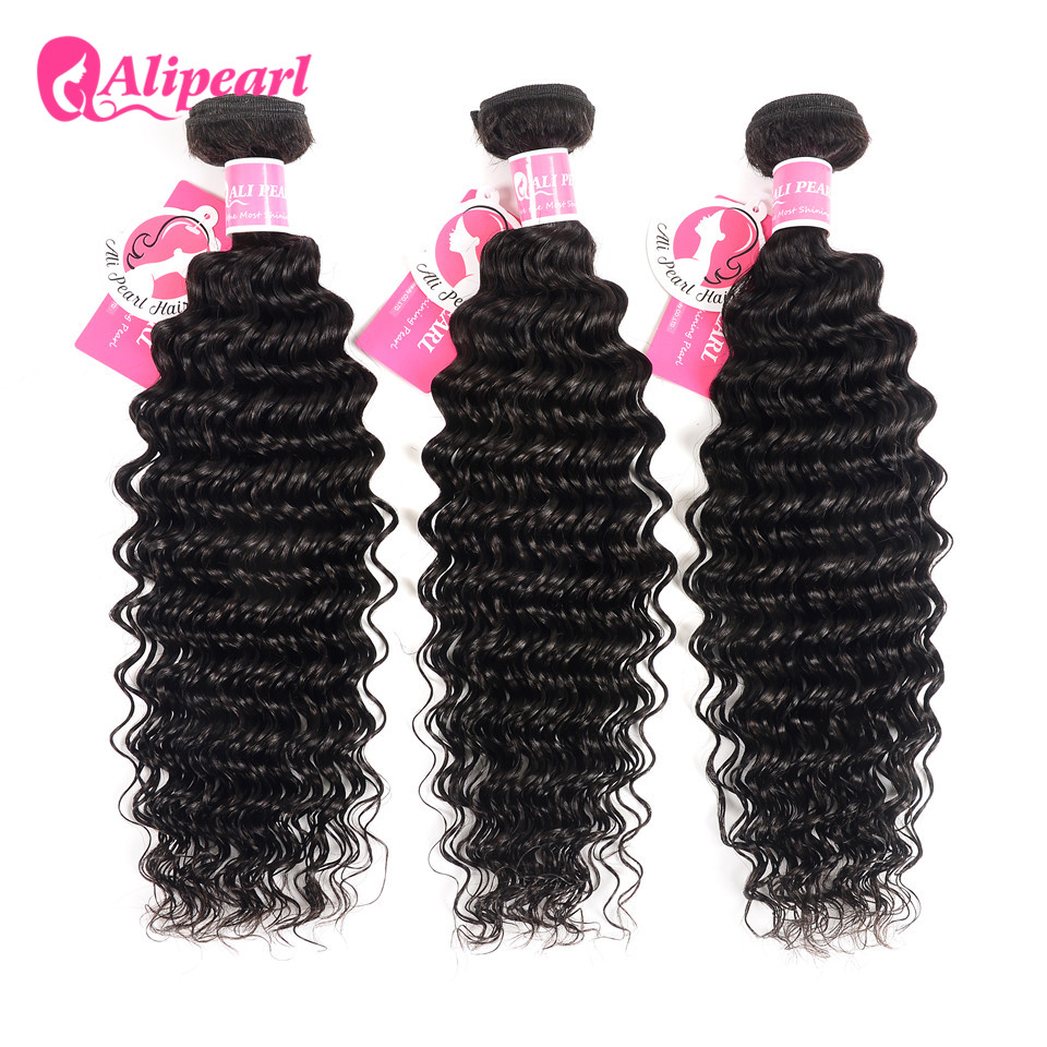 Alipearl Human Hair Loose Wave Bundles With Frontal Pre Plucked Peruvian Hair Weave Bundles 3pcs Natural Color Remy Hair 3/4 Bundles With Closure Human Hair Weaves
