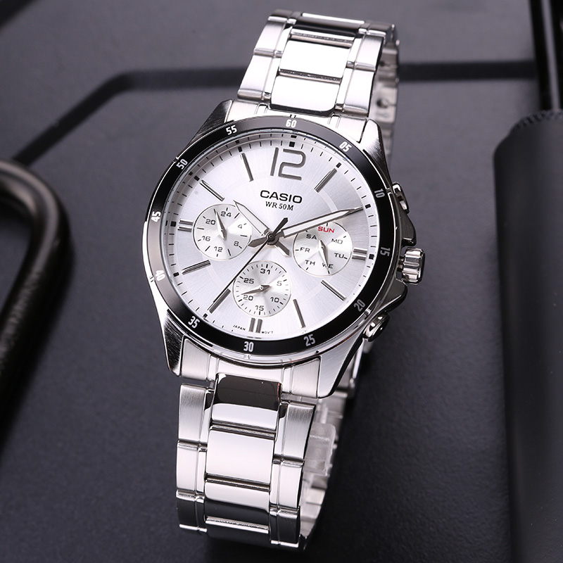 цена на Casio watch men's watch pointer series multi-function chronograph business casual watch men's watch MTP-1374D-7A