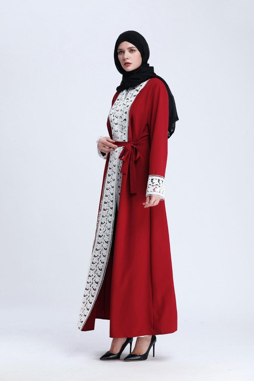 Fashion Muslim Lace Maxi Dress Open Abaya Cardigan Long Robe Gowns Tunic Kimono Jubah Middle East Ramadan Arab Islamic Clothing