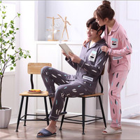 New Couple purified cotton Pajamas sets Turn down Collar Long sleeved trousers Sleepwear Man/Woman home clothes Fashion bedgown