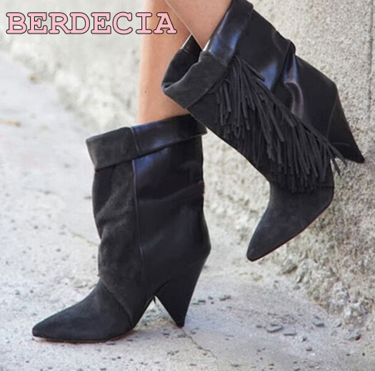 star bag ladies suede leather gladiator middle boots strange heel layers fringe riding boots pointed toe tassel knight boots hot selling chic stylish black grey suede leather patchwork boots mid calf spike heels middle fringe boots side tassel boots