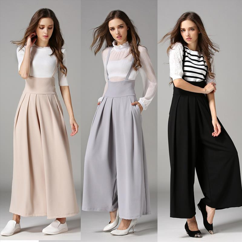 European and American Women's   pants   spring and summer new high waist suspenders   wide     leg     pants   casual   pants   trousers for women