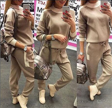 Pullover Full Patchwork Top Cotton Rushed 2017 Burst Of Women's Pure Color Sweater Two Piece Set Tight Trousers Sets Of Women