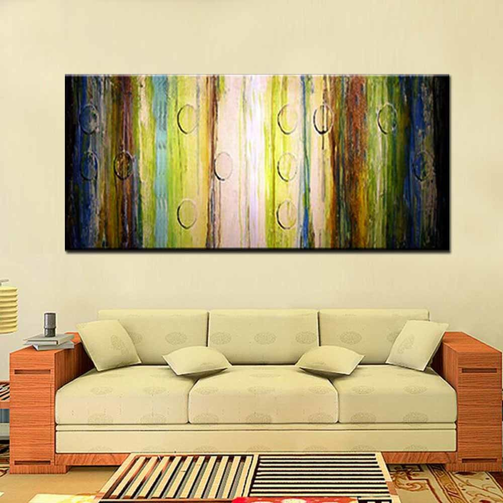 Hand Painted Modern Abstract Canvas Art Abstract Turquoise Color Oil ...