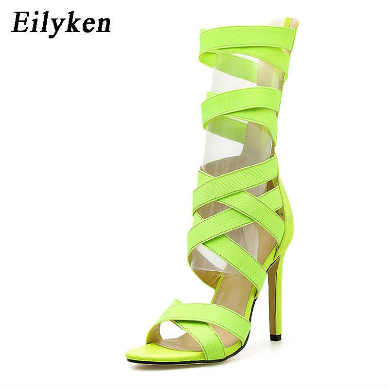 Eilyken 2020 yeni kadın diz yüksek floresan yeşil çizmeler sandalet Femininas kadın ayakkabı yaz hollow bileğe kadar bot sandalet boyutu 43