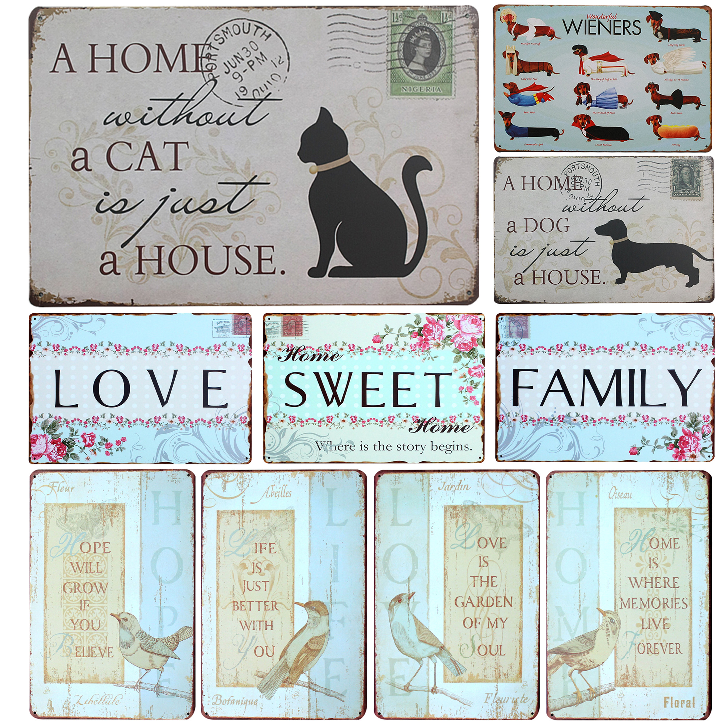 A Home Without A Cat Is Just A House Metal Sign Vintage Home Decor Tin Sign 8x12 Metal Plate Family Wall Decor Metal Plaque