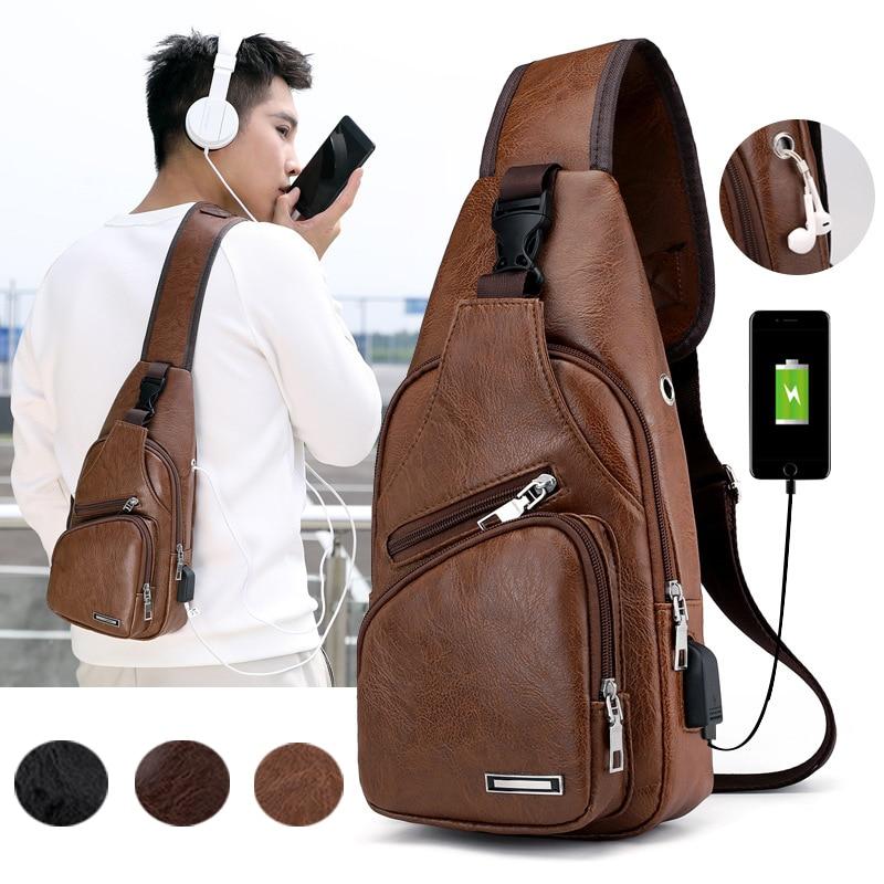 Men PU Leather Sling Chest Pack Crossbody Sport Shoulder Bag + USB Charging Port