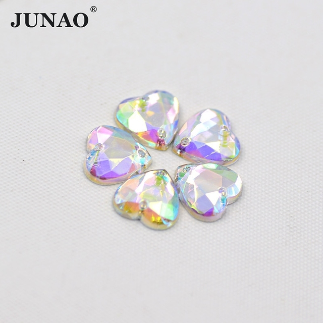 JUNAO 10mm 20mm 25mm Sewing Crystal AB Heart Rhinestones Flatback Acrylic  Crystal Stones Sew On Beads For Clothes Dress Crafts 745a3129f458