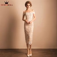 QUEEN BRIDAL Evening Dresses Mermaid Tea Length Ivory Lace Sexy Short Party Prom Dress Evening Gowns 2018 Vestido De Festa JW73