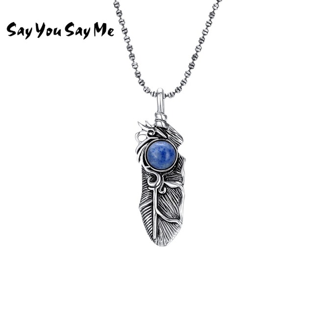 925 Silver Feather Bird Lapis Pendant Necklace Women Fine Jewelry LapisStone Ani