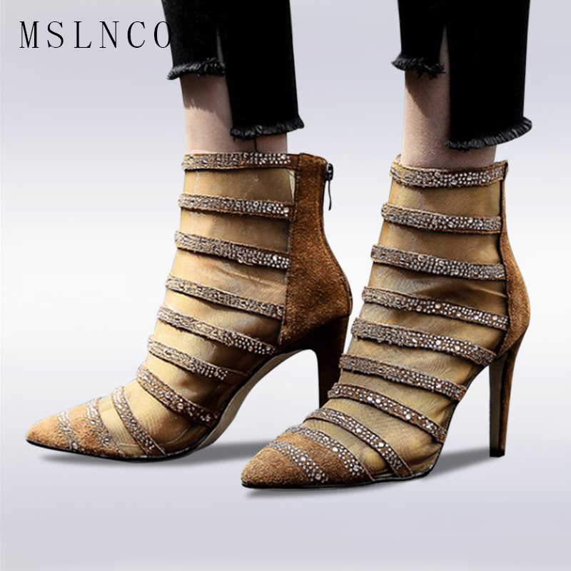 Size 34-43 Fashion Sexy Sandal Women Crystal Net yarn Lace High Heel Sandals Bootie Stilettos Pointed Toe Pumps Mesh Ankle Boots