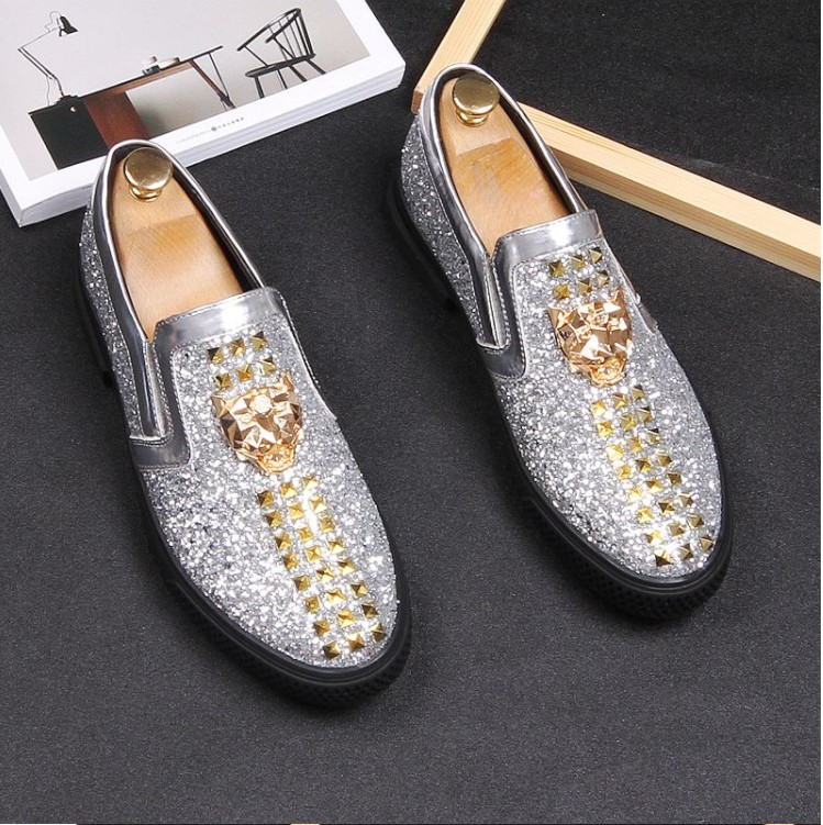 Men Brand Designer Shoes Glittering sequins Studded Rivet Spike Loafer shoe For Male dress wedding shoes Sapato Social Masculin 4