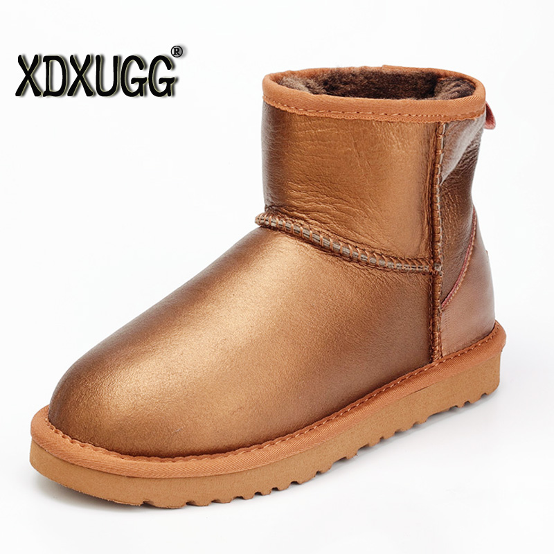 2017 autumn and winter sheep fur one snow boots female short boots classic flat bottomed leather wool warm Boots waterproof type round flat bottomed sweet bowknot short boots
