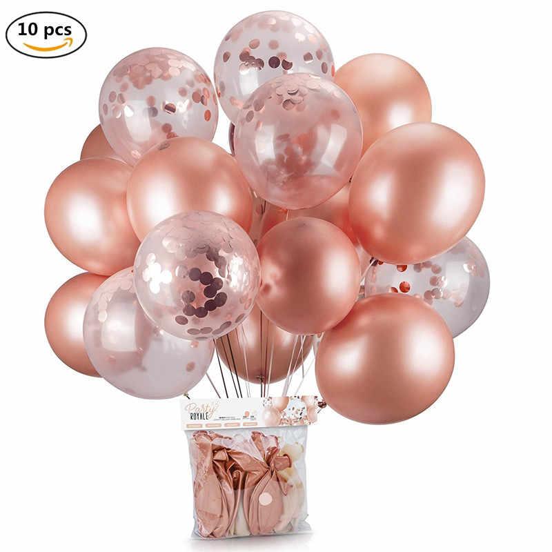 10 יח'\חבילה 12 אינץ זהב מתנפח אוויר בלוני שחור קונפטי Balon מסיבת יום הולדת קישוטי ילדים למבוגרים חתונה הליום בלון