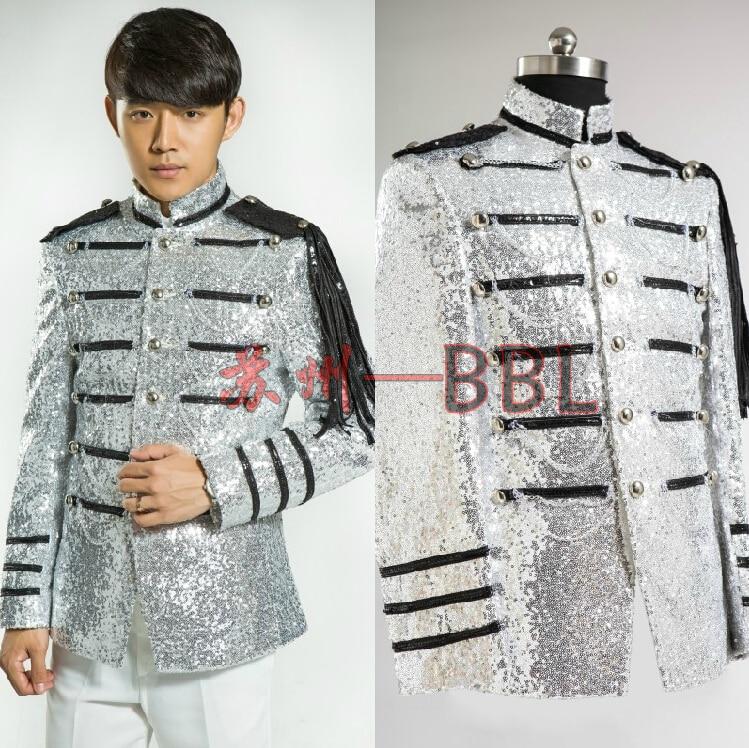 Formalen Kostüme Bling Qualität Kleid Königlichen Männlichen Der Männer Host Kleidung Anzug Mode Stufe Neue Licht Silber 0wXOk8Pn