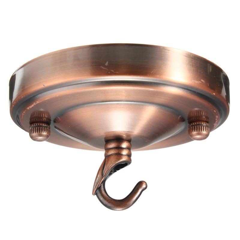 Ретро потолочный крючок круговая тарелка люстра кулон для домашнего светильника - Цвет: red copper