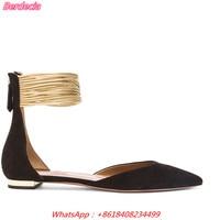 Gold Coil New Arrival Women Flat Sandals European Zipper Pointed Toe Women Pumps Open Side Vamp