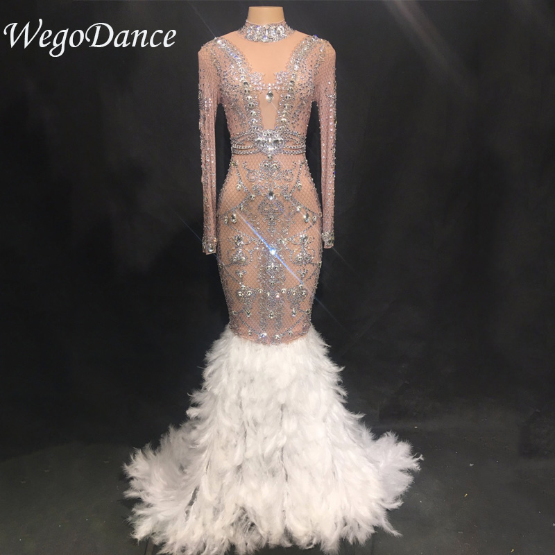 New Fashion Luxurious Sparkly Crystals See Through Mesh Long Feather Dress Birthday Celebrate Stones costume Bridal Dresses