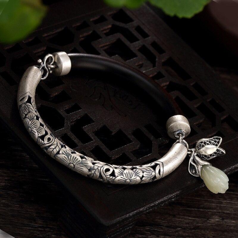 Vintage Thai Silver Bangle Bracelet For Women 2019 Real 925 Sterling Silver Elegant White Jade Bracelet Fine Jewelry Original