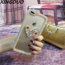 XINGDUO love case Fashion Bling Crystal Rhinestone Soft Clear Case Cover Transparent shell For iPhone 6 6S 7 8 Plus X XS XR