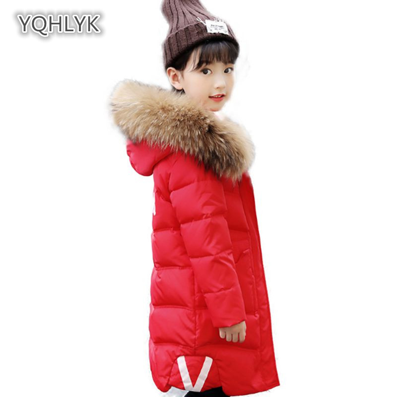 Children girls winter cotton coat fashion hooded warm girl down jacket thick letters girls long kids cotton coat 2018 LK030 children new winter girl coat fashion hooded warm down jacket thicken girl cotton long parkas coat cotton outerwear