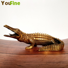 Crafts Bronze China Retro Imitation Antique Crocodile Sculpture Art Statue Metal Animal Family Desktop Decoration