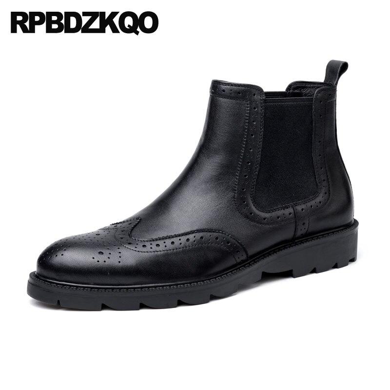 Формальные ботинки мужские острый носок платье ботинки броги ботильоны Броги из натуральной нешлифованной кожи коренастый обувь Челси сва