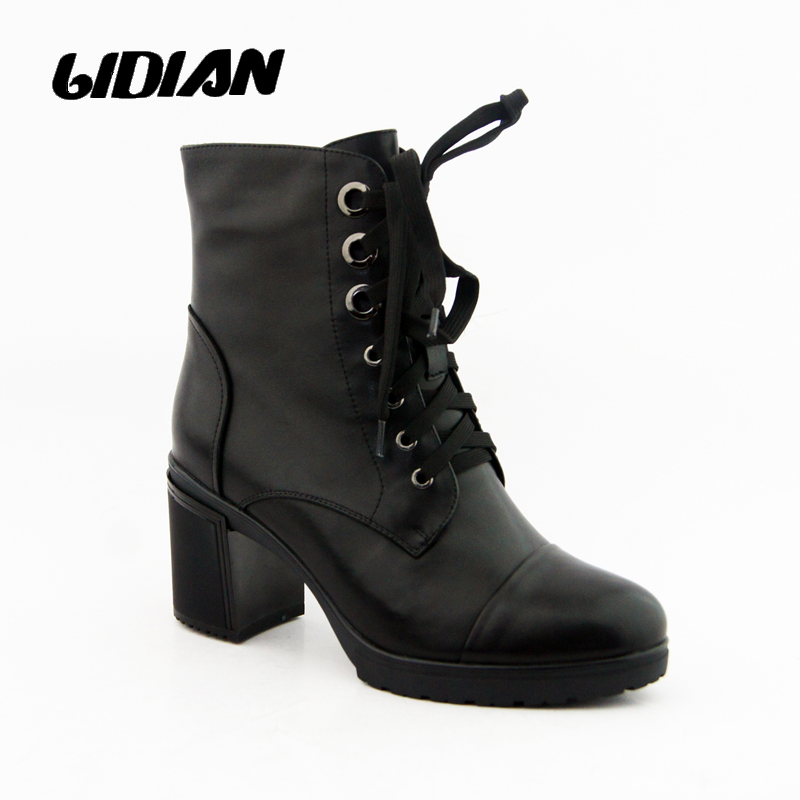 LIDIAN Women Boots Genuine Leather handmade Motorcycle Woman Ankle - Women's Shoes