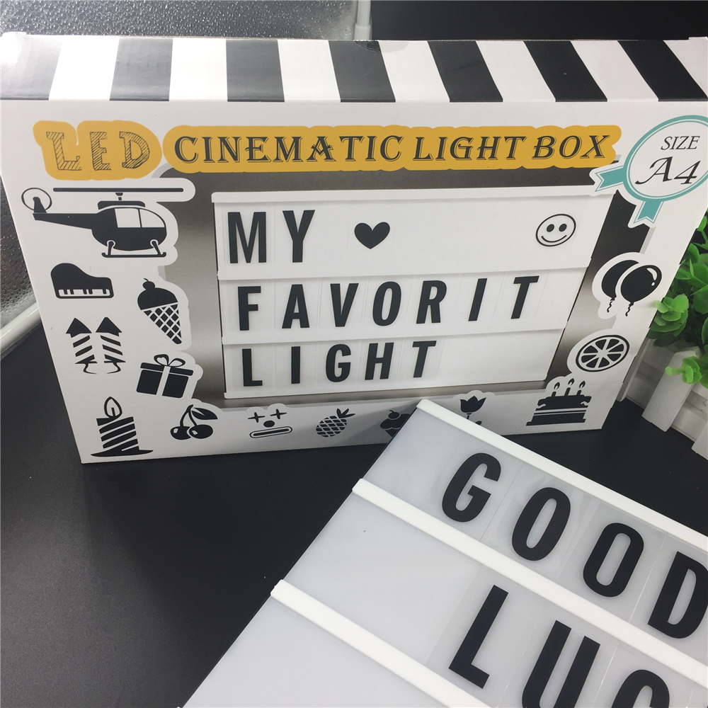 90 kort LED A4 Storlek DIY Letters Box Light Cinema Lightbox Bröllop - Festlig belysning - Foto 5