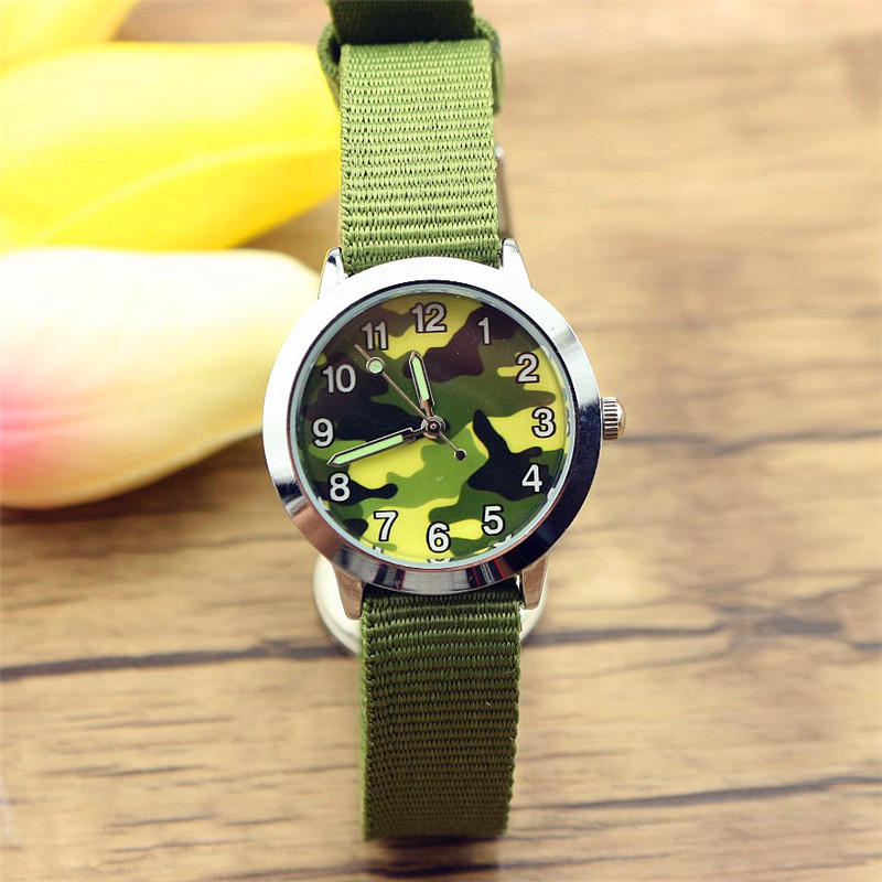 New Fashion Boys Outdoor Sports Camouflage Army Watch Cute Kids And Girls Luminous Hands High Quality Quartz Dibujos De Reloj