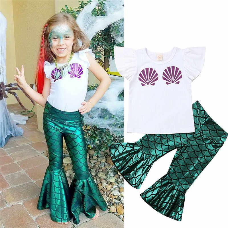 Peuter Meisje Kleding Kids Baby Meisje Zeemeermin Blouse Top T-shirt Jurk Legging Broek Outfit Set Katoen O-hals Baby Meisje Kleding