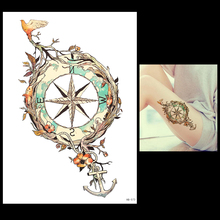 1 Sheet Temporary Tattoo Anchor Star Bird Flower Compass Design HB573 Women Men Body Leg Back Arm Art Fake Tattoo Sticker Makeup