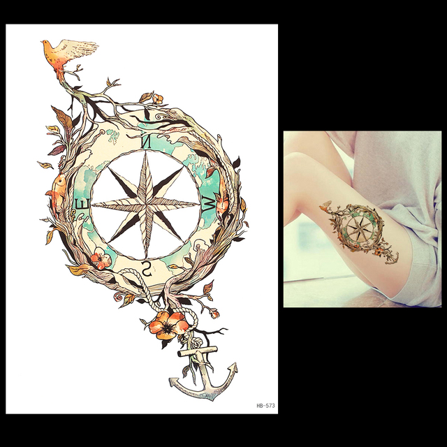 1 Sheet Temporary Tattoo Anchor Star Bird Flower Compass Design