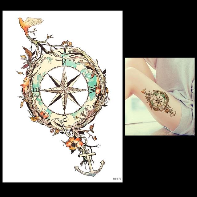 1 Sheet Temporary Tattoo Anchor Star Bird Flower Compass Design