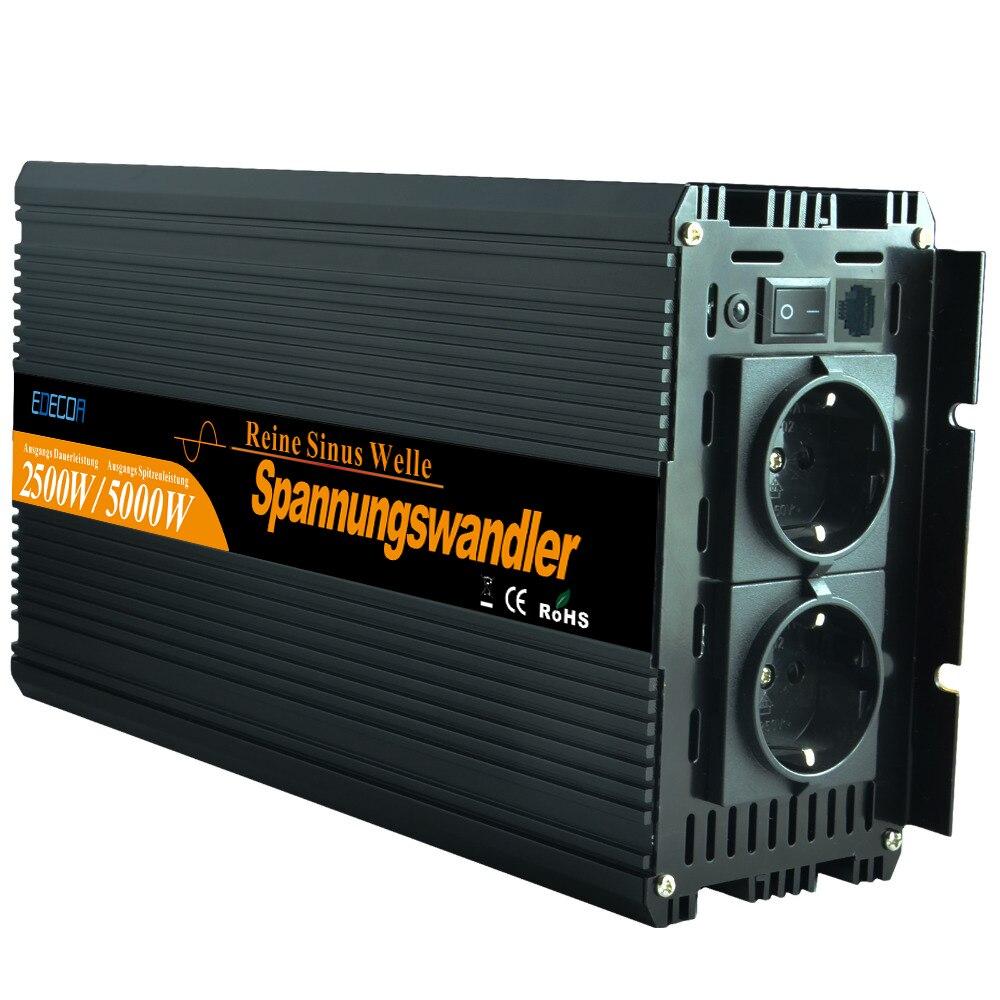Pur onduleur à onde sinusoïdale 2500 W DC12V à AC 220 V pour les appareils ménagers-Nouveau à distance