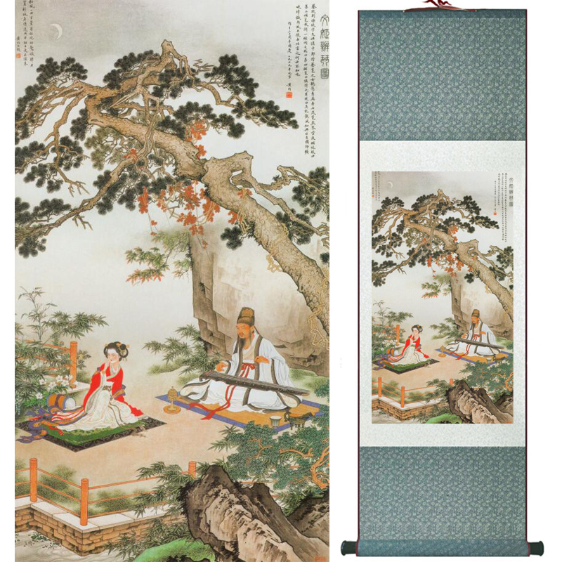 Mountain and river painting Home Office Decoration Chinese scroll painting mountain and River painting LTW2017112508