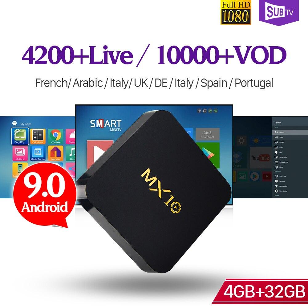 MX10 Smart France IPTV Android 9 0 TV Box 4GB 32GB SUBTV IPTV Subscription Iptv France