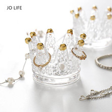 JO LIFE Multifunctional Glass Crown Candlestick Crystal Ashtray Home Practical Jewelry Storage Tray