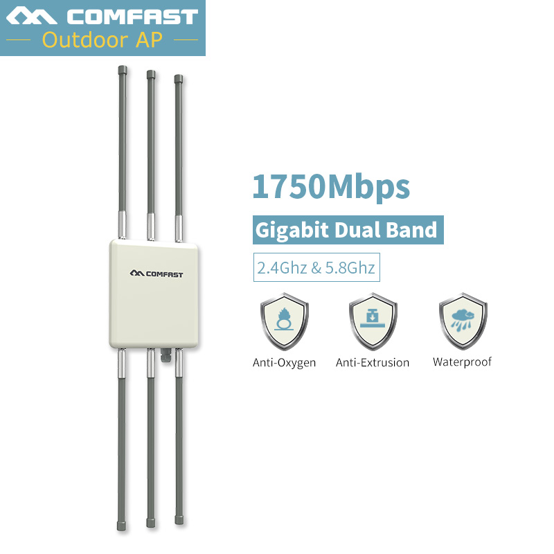 1750Mbps Outdoor Wireless CPE Router Wifi Repeater 500mW WiFi Signal Amplifier Long-Range Access Point Router With 6*8dB Antenna one pair of walkie talkies with strong long range signal