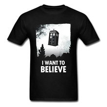Doctor Who T-shirt Men I Want To Believe T Shirt TV Show Black White Tops Tees Tardis Printed Cotton Tshirt Back The Future