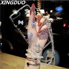 XINGDUO hot sale Transparent crystal shell for iPhone X XS XR  MAX diamond Glitter Bow Rhineston cover iphone 5 7 8 6s plus