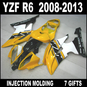 Free customize for YAMAHA R6 08 09 10 11 12 13 yellow white black fairings 2008-2013 YZF R6 fairing kits GHN86+7 free gifts