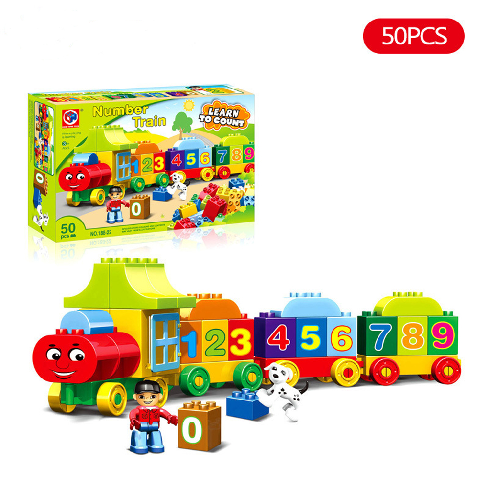 50pcs Number Train Building Blocks Education Number Bricks Toys For Children Compatible With legoeINGlys Duplos Original Box new idea gift solar energy blocks toy transfer boat car train electric toys for children education diy game tool bricks outdoor