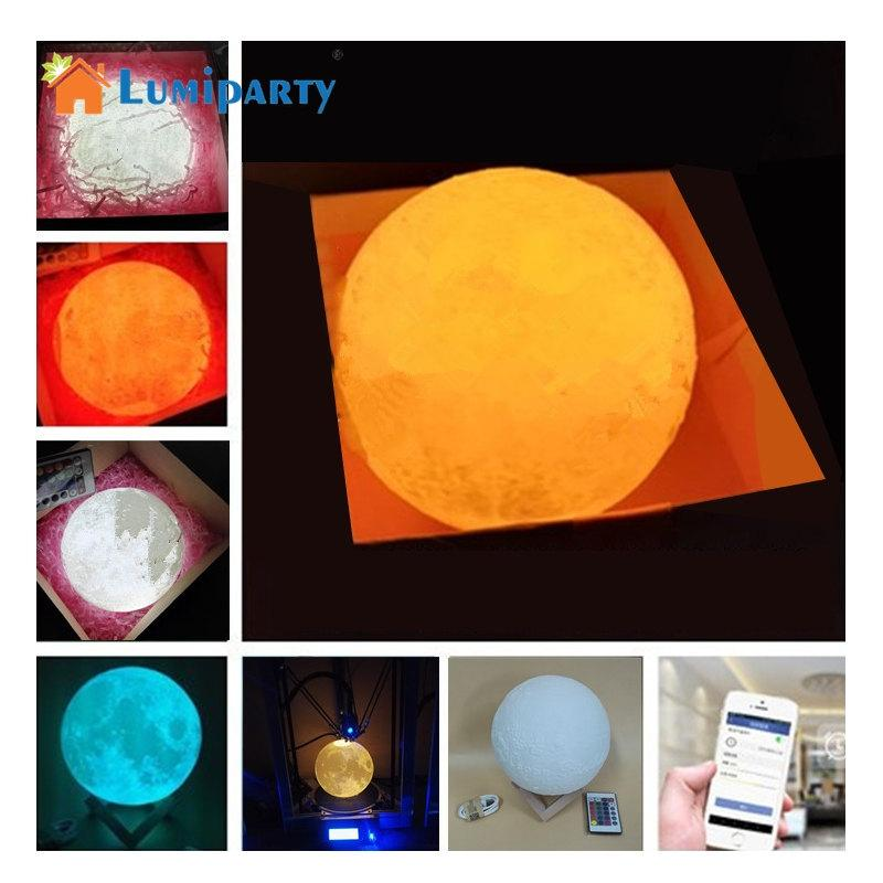 LumiParty Rechargeable 3D Print Moon Lamp 2 Color Change Touch Switch Bedroom Bookcase Night Light Home Decor Creative Gift jk30