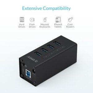 Алюминиевый usb-концентратор ORICO, 4 порта, 5 Гбит/с, концентратор USB 3,0 с 12 В, Поддержка питания BC1.2, зарядка для ноутбука, Windows Mac Linux
