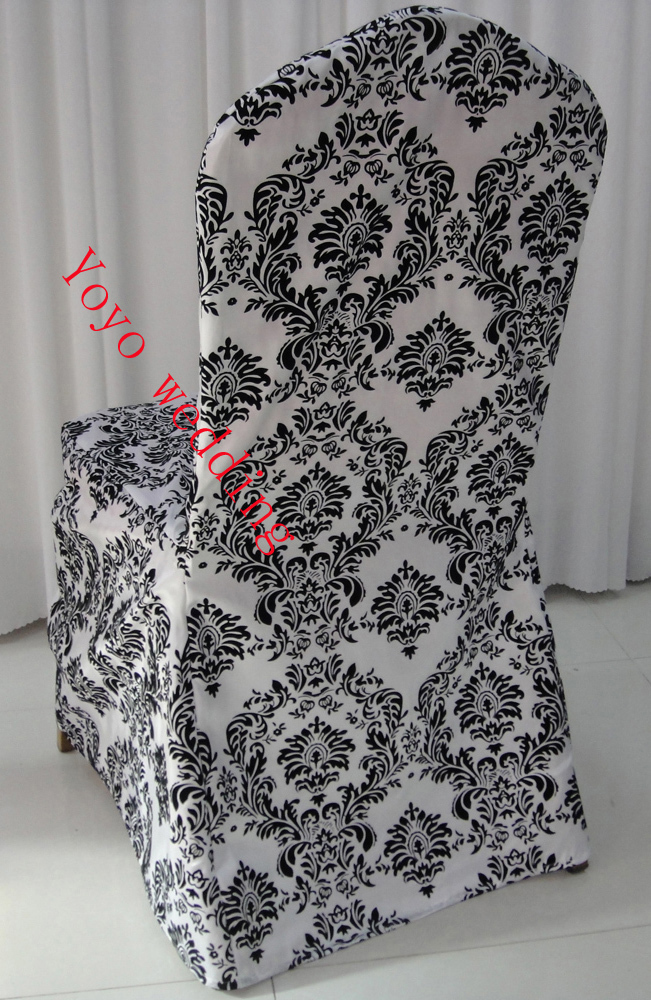 black wingback chair covers best office for back surgery white and flocking taffeta damask cover-in cover from home & garden on ...